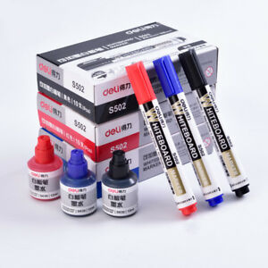 Erasable Whiteboard Marker Pen 3 Pcs Whiteboard 1 Bottle Ink Set Office Dry Er