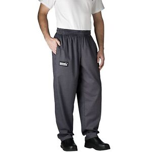 New Chefwear Men s 100 Cotton Baggy Chef Pants Gray Houndstooth L 5xl