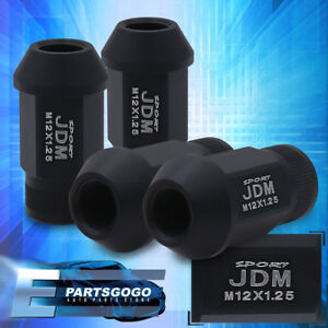 Jdm Sport 4pc M12x1 25mm Pitch Thread Matte Black Lug Nuts Open End Alloy Steel