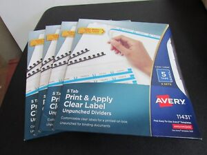 Lot Of 4 New Avery 5 Tab Print Apply Clear Labels 11431 Free Shipping