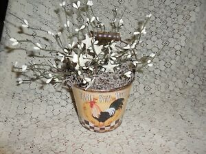 Rooster Pail Country Prim Decor White Pip Berries W White Tin Stars New