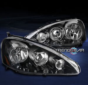 For 2005 2006 Acura Rsx Dc5 Black Replacement Headlights Headlamps Lamp Pair Set