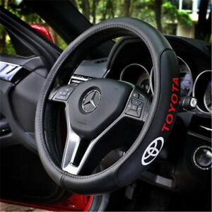 38cm Car Steering Wheel Cover Genuine Leather Anti slip Fit For Toyota Size M
