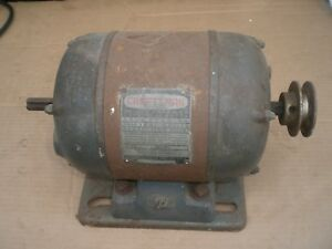 Vintage Crafsman Dual Shaft Electric Motor With Pulley 3 4 Hp 115v 3450 Rpm