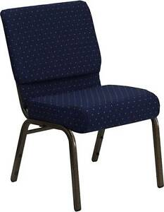 Lot Of 30 21 Extra Wide Navy Patterned Stacking Church Chairs Gold Vein Frame
