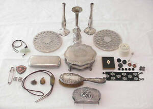 Vintage Lot Sterling Silverplate Silver Tone Jewelry Box Overlay Trivets More