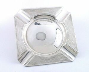 3 1 4 X 3 1 4 Inch 100 Year Old Edwardian Square Sterling Silver Ashtray As58