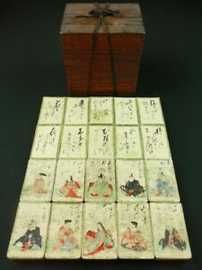 Hyakunin Isshu Japanese Hand Painted Playing Cards 100 Poems By 100 Poets Edo 73