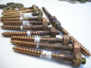 12 Old Bronze 2 1 2 Long X 1 4 Hanger Bolts Hex Nuts Marine Boat More