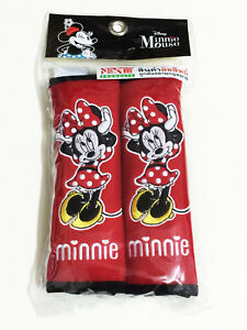 Minnie Mouse Disney 2 Pieces Car Suv Van Seat Belt Shoulder Pads Covers New 01