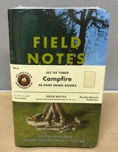 Field Notes campfire Limited Edition Sealed 3 pk Memos Campfire Master Patch