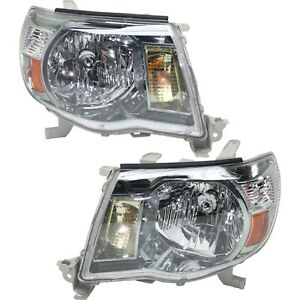 Halogen Headlight Set For 2005 2011 Toyota Tacoma Sport Package W Bulbs Pair