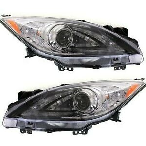 Headlight Set For 2010 2011 2012 2013 Mazda 3 Left And Right Hid 2pc