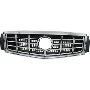 Grille For 2014 2015 Cadillac Xts Center Chrome Shell W Gray Insert Plastic