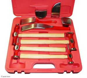 Professional Auto Body Repair Tools Highly Polished Hammers Dollies 9 Pc