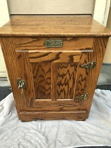 Vintage White Clad Icebox Cabinet End Table Oak Brass Hardware Nightstand Great