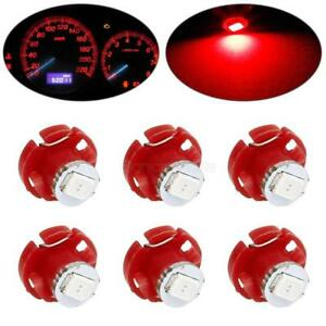 6x Red T4 2 T4 Neo Wedge Led Bulb Cluster Instrument Dash Climate Base Lamp