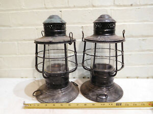 Pair Of Brass Black Diets Nautical Boat Ship Lanterns With Clear Globes Maritime