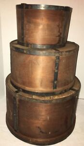 3 Early Antique Primitive Round Dry Measure Pantry Box Nesting Aafa