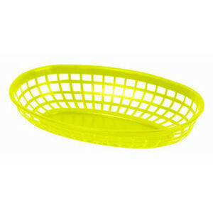 144 Pieces Plastic Fast Food Basket Baskets Tray 9 3 8 Oval Yellow Plbk938y