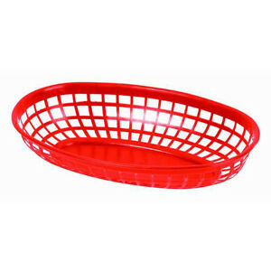 144 Pieces Plastic Fast Food Basket Baskets Tray 9 3 8 Oval Red Plbk938r