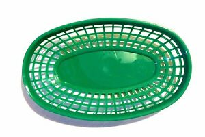 144 Plastic Pieces Fast Food Basket Baskets Tray 9 3 8 Oval Green Plbk938g