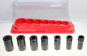 Snap On 207imfs 7 piece 3 8 Dr 6 point Sae Impact Socket Set Magnetic Rail