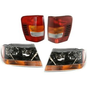 Headlights Tail Lamps Left Right 4pcs Set Auto Body Kit 99 2002 Grand Cherokee