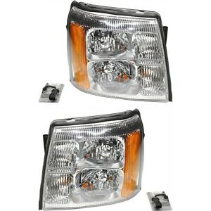 Headlight Set For 2003 2006 Cadillac Escalade Left And Right Amber Lens Hid 2pc