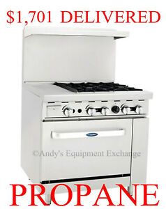 36 Inch 3 Foot Propane Gas Range 4 Burners W 12 Griddle On Left And 1 Oven