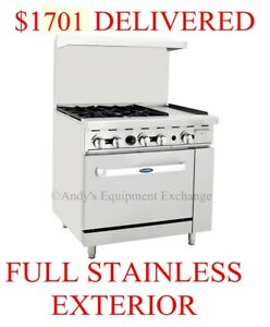 36 Inch 3 Foot Gas Range 4 Burners With 12 Griddle On The Right And 1 Oven