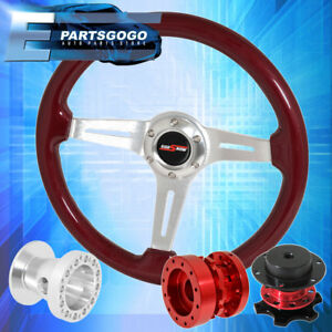 Red Wood Steering Wheel Quick Release Red Extender Hub For 89 05 Eclipse