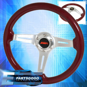 Red Wood Chrome Aluminum Center Deep Dish Steering Wheel Jdm Sport Horn Button