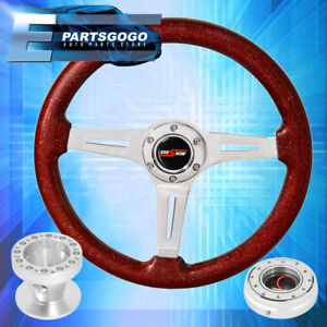 Metallic Red Steering Wheel Slim Silver Quick Release Hub For 89 05 Eclipse