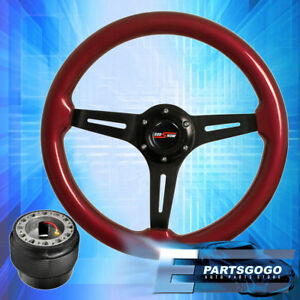 Red Wood Black Aluminum Center Deep Dish Steering Wheel + Hub For 88-91 Civic