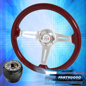 Hub For 92-95 Civic + Red Wood Chrome Aluminum Center Deep Dish Steering Wheel