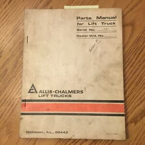 Allis Chalmers Acp 60 70 Acp 80 Parts Manual Catalog Book Forklift Truck Guide