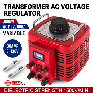 Variac Transformer Variable Ac Voltage Regulator 3000w Auto Copper Coil Ac 110v
