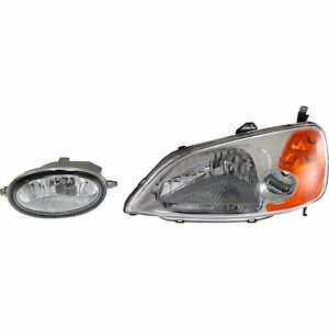 Headlight Kit For 2001 2003 Honda Civic Left 4 Door Sedan 2pc