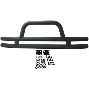 Tube Front Bumper For Jeep 1976 2006 Cj7 Wrangler Yj Tj Black With Loop