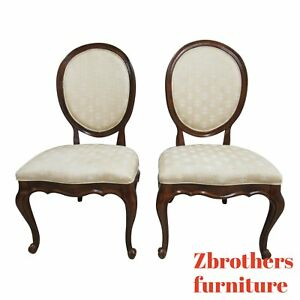 Pair White Furniture Co French Carved Dining Room Side Chairs C