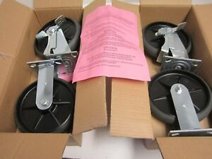 2 Rigid Plate 2 Swivel Plate With Brake 8 X 2 Casters Plate Size 4 1 2 X 4 New