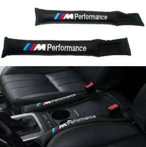 2x Car Seat Gap Filler Black Pu Leather Pad Spacer Stopper For Bmw M Performance