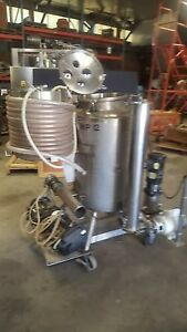 12460 010 Used Approximately 50 Gallon Vertical Stainless Steel Jacketed Tank