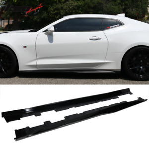 Fits 16 20 Chevy Camaro Zl1 Style Gloss Black Side Skirts Rocker Panel Abs Pair