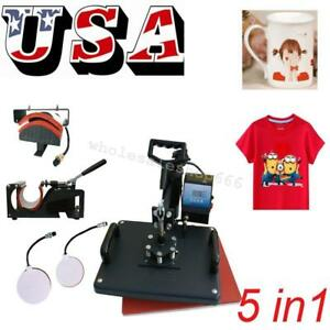5 In1 Combo T shirt Heat Press Transfer Printing Machine Sublimation 12x15 Inch
