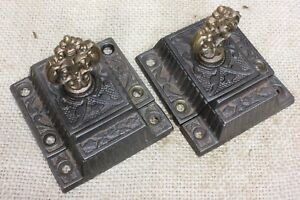 2 Cabinet Catches Jelly Cupboard Latches Rare Brass Knob Old Vintage 2 1 2