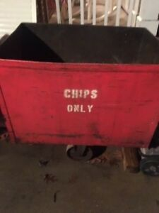2 Antique Industrial Carts Bins On Wheels For Chips Only