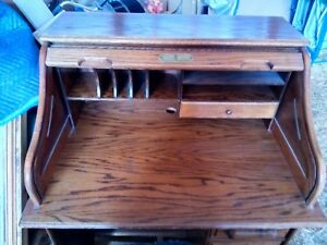 Vintage Solid Oak Bentwood Secretary Roll Top Desk