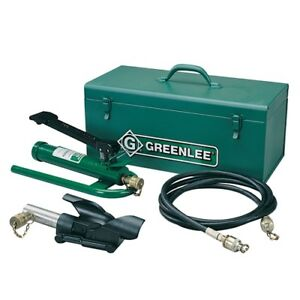 Greenlee 800f1725 Hydraulic Cable Bender W foot Pump Hose Unit And Storage Box